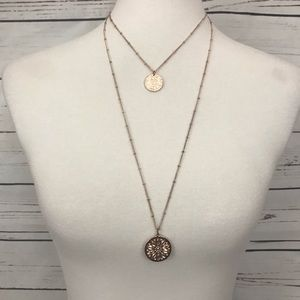 Rose Gold Tone Double Strand Medallion Necklace